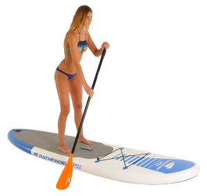 pathfinder inflatable stand up paddle board, woman