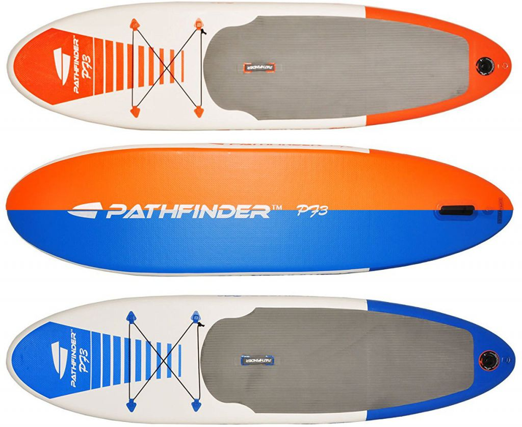 pathfinder inflatable stand up paddle board is available in 2 colors, blue and orange